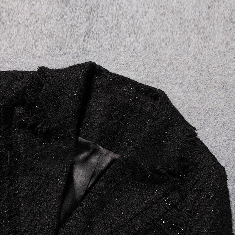 Veste Tweed De Était automne 2019 D'hiver Revers Mince Noir Nouveau Femmes Printemps UwcdAU5q