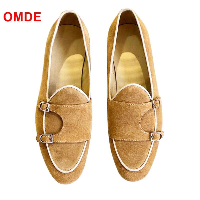 OMDE Yellow Monk Strap Suede Loafers Men Fashion Handmade Slip On Dress Shoes Breathable Summer Men Shoes Leather Flats