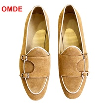 цена на OMDE Yellow Monk Strap Suede Loafers Men Fashion Handmade Slip On Dress Shoes Breathable Summer Men Shoes Leather Flats