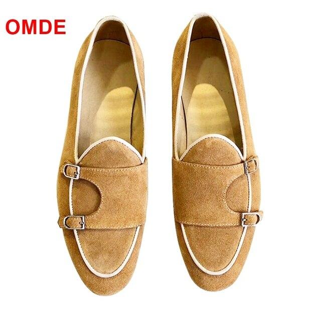 Omde Yellow Monk Strap Suede Loafers Men Fashion Handmade Slip On