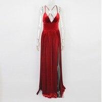Sexy Red Velet Maxi Dresses V Neck Độn Cao Gấp Đôi Chia Tách Chéo Dây Đai Cao Tăng Đêm Clube Đảng Dress