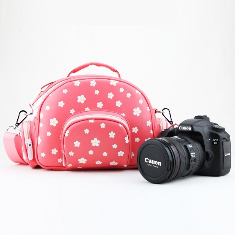 Unique Designer Cherry Blossom Microfiber leather Camera Bag Portable Shoulder Bag for SLR Camera Canon Nikon Pentax SONY профессиональная цифровая slr камера nikon d3200 18 55mmvr