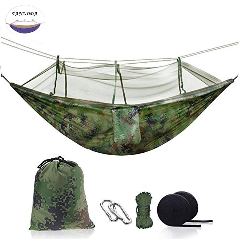 Portable Garden Nylon Hammock Swinghang Mesh Net Sleeping Bed Hamaca For Outdoor Travel Camping Hamak Blue Green Red Hamac Sleeping Bags