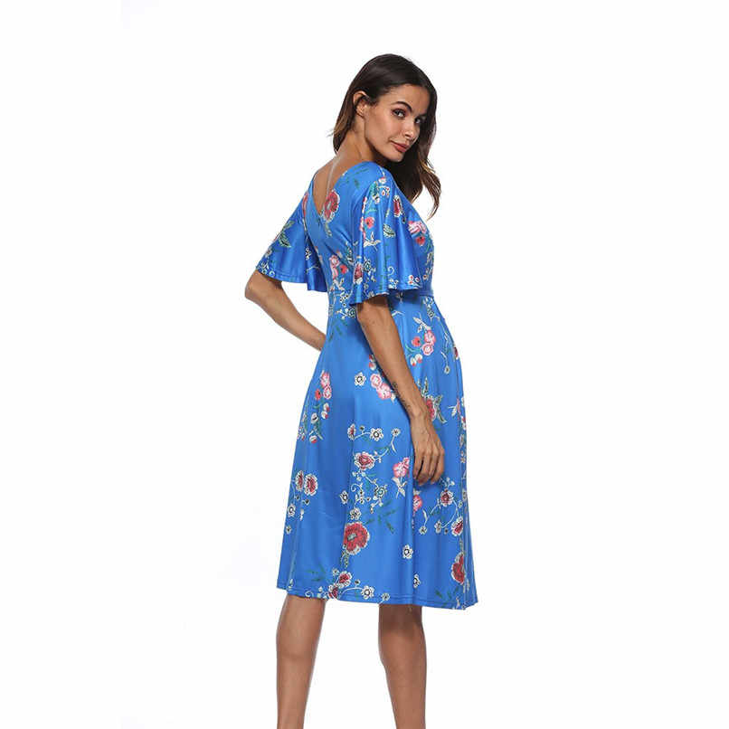 ca38ea1fa2d5 ... Summer Maternity Clothes Fashion Women Pregnants Maternity Short Sleeve  Floral Printed Dress Pregnancy Casual Dress M