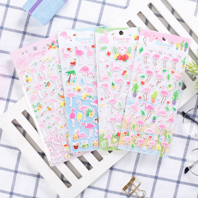 1 Pcs/set Kawaii Stationery Stickers Flamingo 3D Foam Diary Planner Decorative Mobile Stickers Scrapbooking DIY Craft Stickers spring and fall leaves shape pvc environmental stickers decorative diy scrapbooking keyboard personal diary stationery stickers