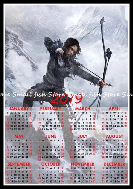 Rise of The Tomb Raider Game 2019 calendar poster Home