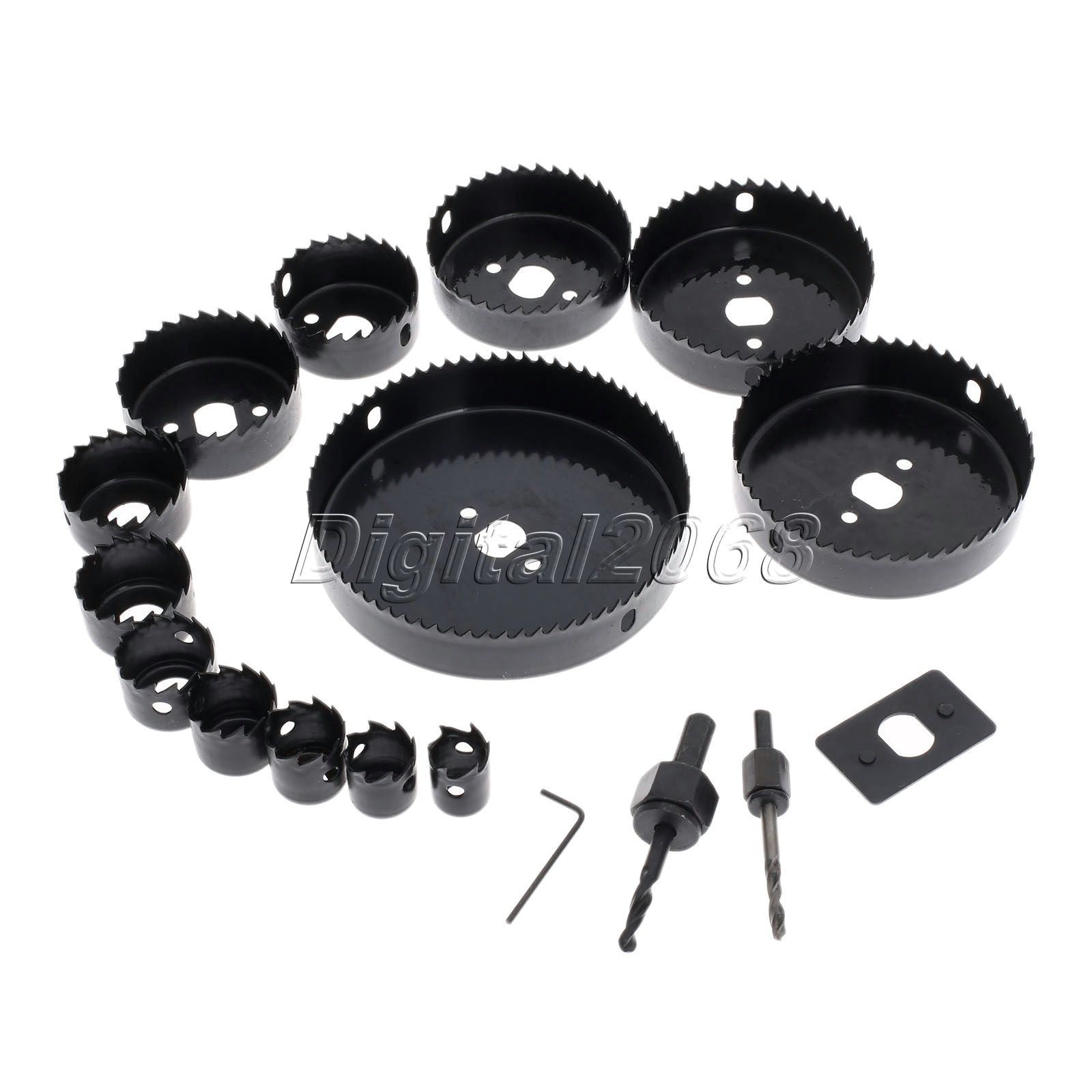 13pcs Hole Saw Bit Cutting Set Kit Tool 2 Mandrils Plastic Circular Round Case Drill Bits Wood Thin Metal Cutter Hole Saw Tools new 50mm wall hole saw drill bit set 200mm connecting rod with wrench mayitr for concrete cement stone