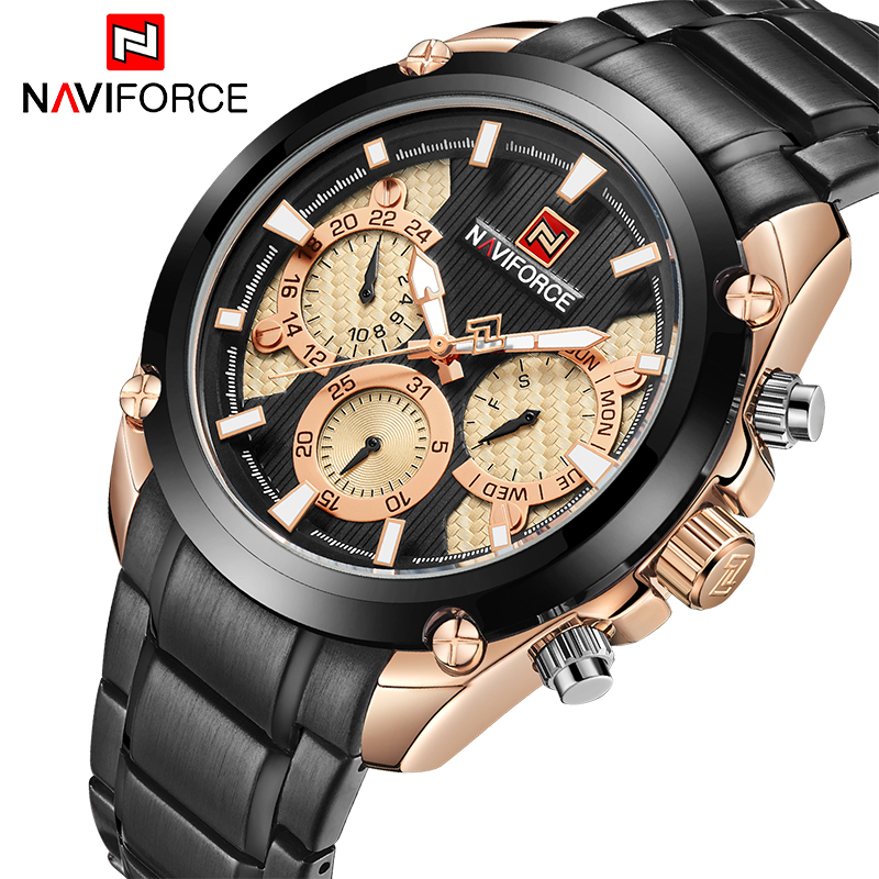 <font><b>NAVIFORCE</b></font> Fashion Brand Waterproof Quartz Watch Men Military Stainless Steel Sports Watches Men Casual Clock Relogio Masculino image