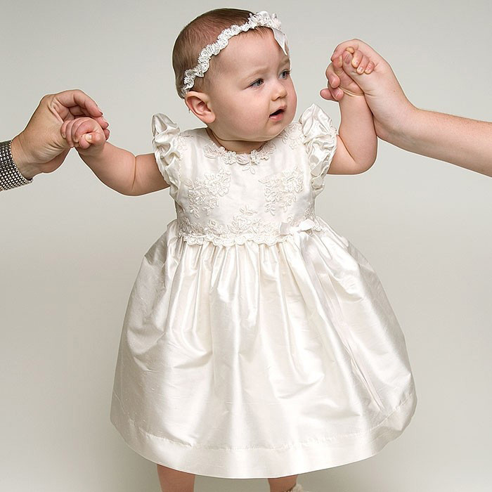 цены Hot Sale new knee length white and lace baby girl baptism dresses baby dresses baby girl dresses