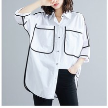 2019 Women Summer Korean Plus Size Shirt Vintage Loose White Blouses Ladies Large Tops