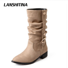 LANSHITINA Big Size 28-52 Women Half Boots Warm Winter Snow Flat Boot Riding Boot Wind Quality Leather Shoes Women Boots Botas
