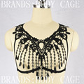 2016 Hot Sexy Lace Bra Harness Bohemia tassel Pendant Bondage Punk goth body Caged Crop Top Fetish Funny Witchy Exotic Lingerie