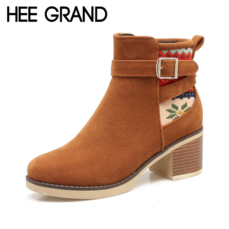 HEE GRAND Women Ankle Boots 2017 Winter Suede High Heels Boots Flock Gladiator Round toe Shoes Woman 3 Colors Size 35-43 XWX6407 nemaone winter women round toe ankle boots high heels shoes double buckle platform short martin booties size 33 43