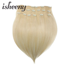 "Isheeny Remy Human Hair Clip i Extensions 18 ""20"" 22 ""8st / set Tjock Double Weft Brasilian Hair Clip Ins Full Head Clip On Set"