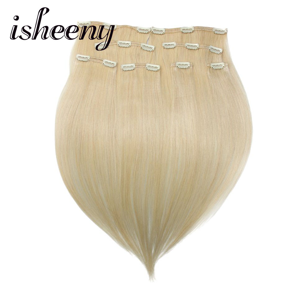 Isheeny Remy pinza de pelo humano en extensiones 18 20 22 8 unids set  grueso doble trama brasileña del pelo clip cabeza completa clip en conjunto fe215d5a2024
