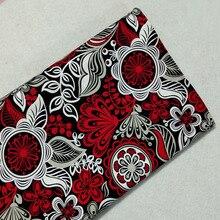 Изящная африканская красная хлопковая ткань с цветочным принтом, 50x105 см, африканская ткань, ткань для пэчворка, детское платье, вечерние Декор для дома