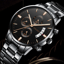 FNGEEN 2018 Business Men Stainless Steel Date