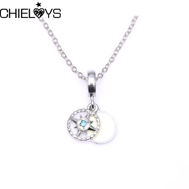 CHIELOYS Fashion Austrian Crystal Jewelry Compass Rose Pendant Pandora Charm  Necklace   Pendants Silver Color Chain b06a8efddb96