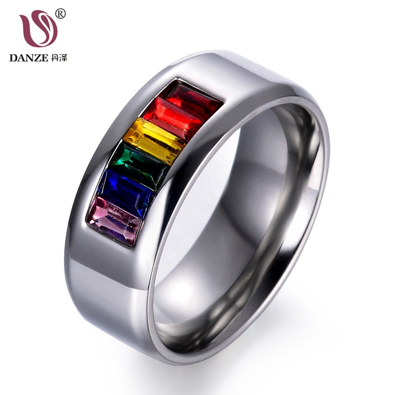 DANZE 8mm Trendy Crystal Rainbow Wedding Ring for Men Women Gay Pride Stainless Steel Engagement Finger Band Anel Masculino