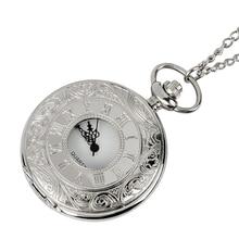 Bronze quartz pocket watch Roman digital analog pendant necklace for men and women hand watch chain gifts