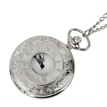 New men's and women's watches fashion neutral hollow silver Roman digital copper chain necklace pocket watch wholesale blue gemstone copper unisex pocket watch necklace key freeship