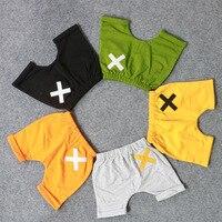 Nieuwe Lente Zomer baby jongens shorts mode emboridery cross Kinderen Harem Katoenen Broek shorts Lengte Capri 1-4 T drop verzending