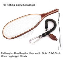 Aventik Fly Fishing Neto Mesh Drvena ručka Guma Landing Neto Catch i Release Holder Trout Fly Neto s Magnetic Release