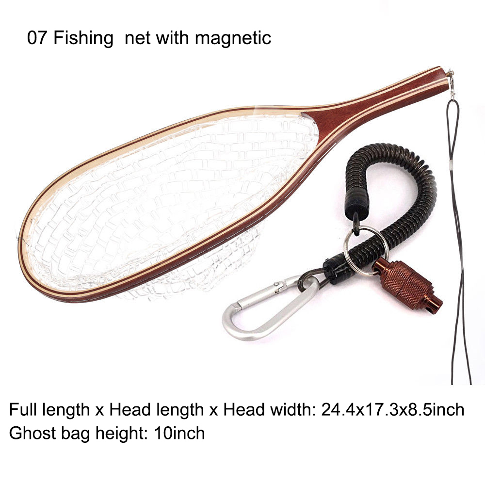 Aventik Fly Fishing Net Mesh Wooden Handle Rubber Landing Net Catch And Release Holder Trout Fly Net With Magnetic Release