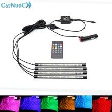 Автомобиль RGB светодиодный DRL полосы света Светодиодные ленты огни Цвета салона Декоративные Атмосферу лампы дистанционного Управление автомобиля дизайн освещения