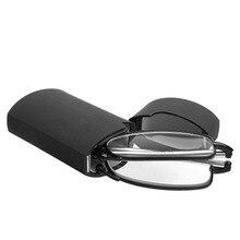 Мини дизайн очки для чтения для мужчин и женщин складные маленькие очки оправа черные металлические очки с оригинальной коробкой