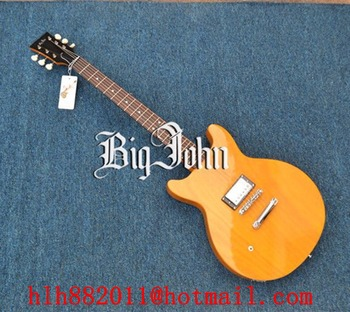 free shipping new Big John left-hand electric guitar with mahogany body in yellow F-3373