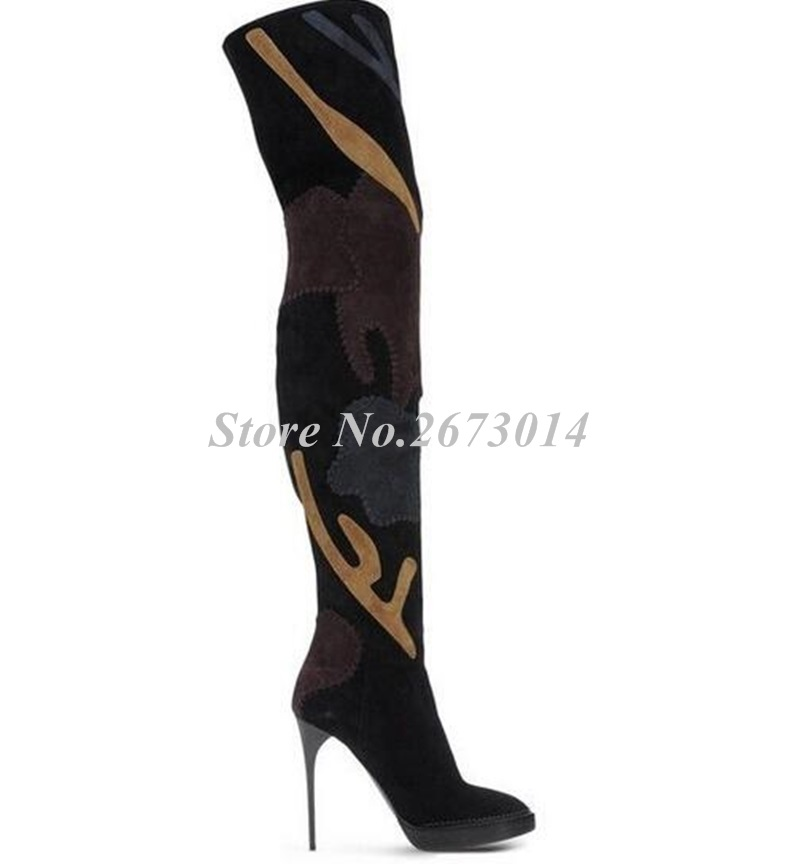 2019-European-Style-Winter-New-Arrival-Women-Boots-Floral-Patchwork-Over-the-Knee-Boots-Suede-Leather (2)