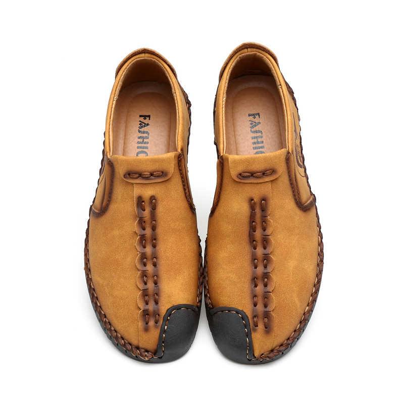 Классическая удобная мужская повседневная обувь, лоферы, мужская обувь, качественная кожаная обувь, мужская обувь на плоской подошве, Лидер продаж, Мокасины, обувь большого размера