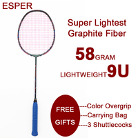 Esper 58Gram 9U Carbon Fiber Badminton Racket Professional Super Lightest Graphite Racquet With String and Gifts for Sports Game