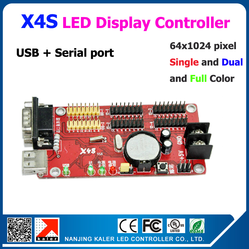 Kaler Led Controller X4S Easy Operation 1024*64pixel Led Controller For Led Board Single Dual Color Scrolling Message Led Board