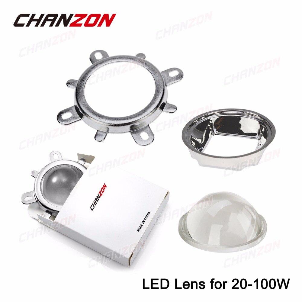 купить 1 set 44mm LED Lens Optical Glass 60 degree + 50mm Reflector Collimator + Fixed Bracket For 20W 30W 50W 100W COB High Power Chip недорого