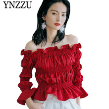 YNZZU 2019 New arrival sexy off shoulder women's blouse Red ruffled elastic long sleeve female shirt Fashion elegant tops YT648 off the shoulder ruffled blouse for women