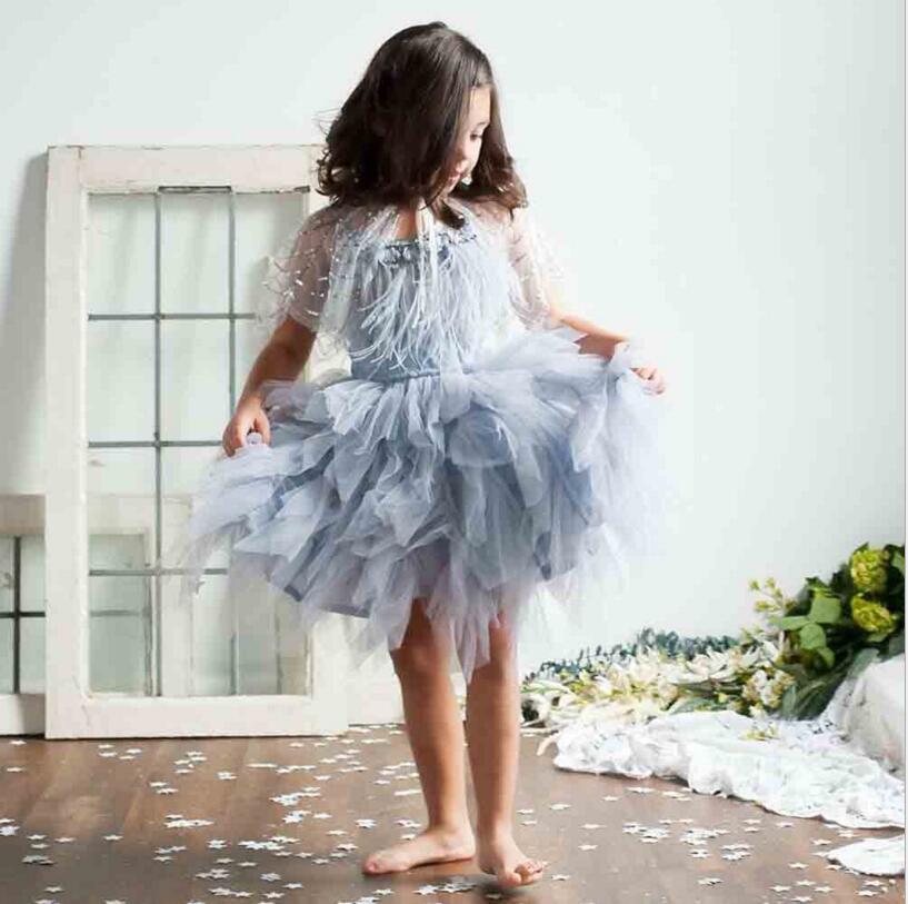 Luxury baby girls feather tutu dress children girls beading sequins sling summer dress fashion kids tulle