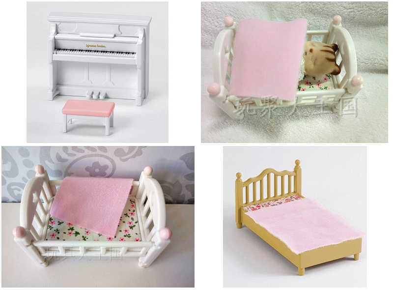 original Sylvanian Family of mini room furniture bed mini action figure Child Toys gift