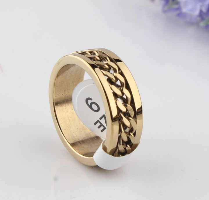 free shipping Hot Sale Gold 8mm New arrival  316L titanium steel gold color rotated chain ring for man and women