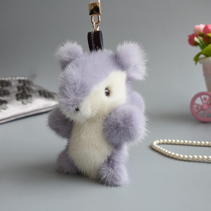 Genuine mink Fur Keychain fashion Soft Fur squirrel Key ring bag Pendant gift car pendant car accessories key rings