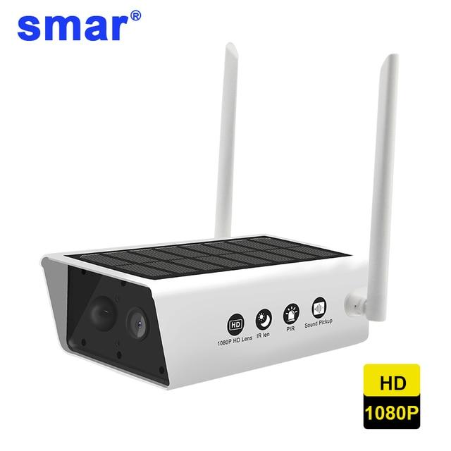 Smar 1080P HD Surveillance Cameras Waterproof Outdoor Security Solar Battery Charge Camera WIFI Cameras Audio PIR Motion