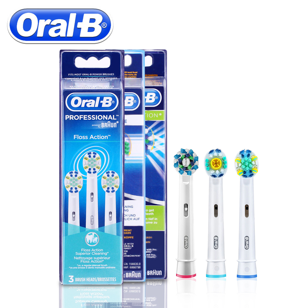 3pc/Pack Oral B Replacement Electric Toothbrush Heads Floss Action/3D White/Cross Action Toothbrush Heads Oral Hygiene oral b replacement toothbrush heads dual clean compatible for cross action electric toothbrush gum care 2 heads 1 pack