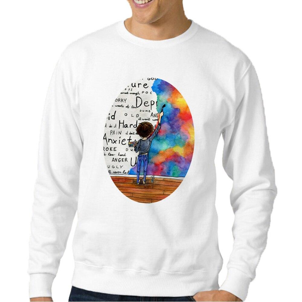 Always Keep Fighting Watercolor Painting Sweatshirts Men Fashion Sweatshirt Casual Mens Tracksuit Hipster Sweat Shirt