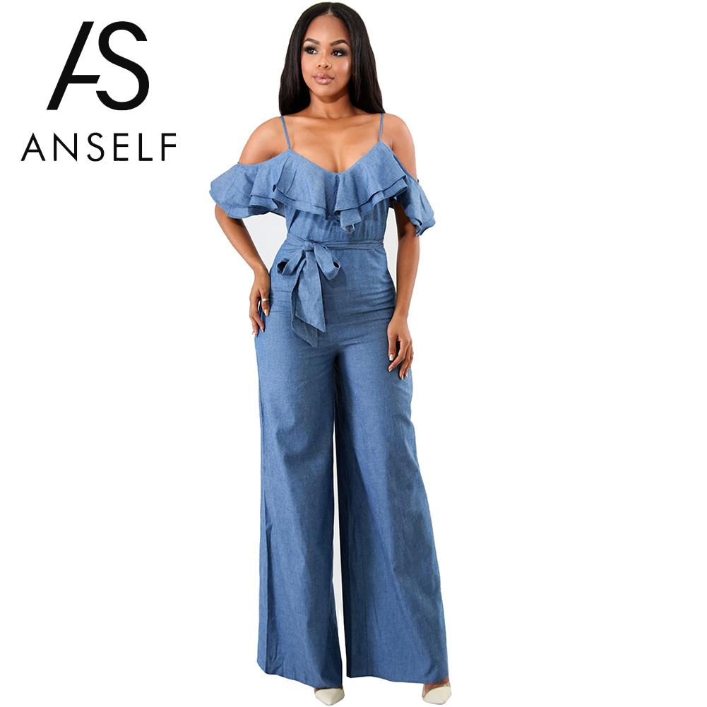 64c55c198a82 Anself Sexy Women Ruffles Cold Shoulder Jumpsuit Sashes Zipper Wide Leg  Pants Suspender Rompers One Piece