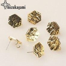 Stop cynkowy złoty metalowy geometryczny sześciokąt baza kolczyki złącza Linkers 6 sztuk/partia dla kolczyki diy biżuteria akcesoria