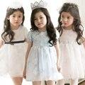 2015 летний новый стиль Дети платье девушки принцесса кружевном платье сладкий высокой талией сладкий твердых платье детская одежда кружева дети платье