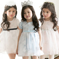 2015 Crianças de verão novo estilo meninas vestido de princesa do vestido do laço doce de alta-cintura sweety sólida vestir roupas infantis rendas crianças vestido
