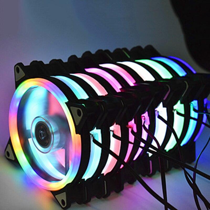 Colorful 120mm fan Computer LED Fan Water Cooler Cooler Fan Case Glare Red Blue Green White Cooler Fans Cooling RGB Case Fan CPU