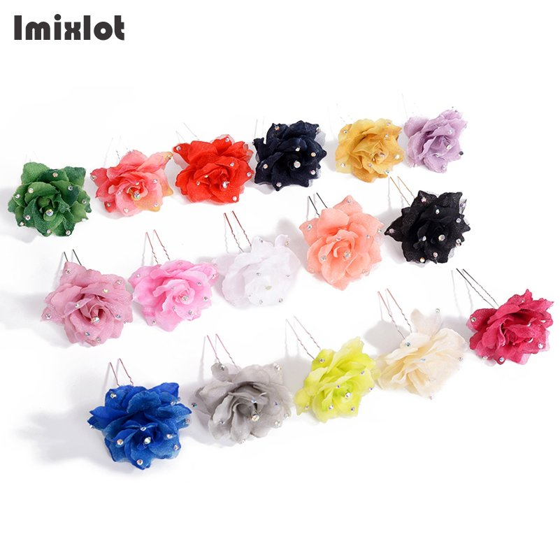 Imixlot 2 Pcs Artificial Flower Rhinestone Hairpins Hair Clips Women Wedding Bridal Jewelry Bride Headdress Hair Accessories